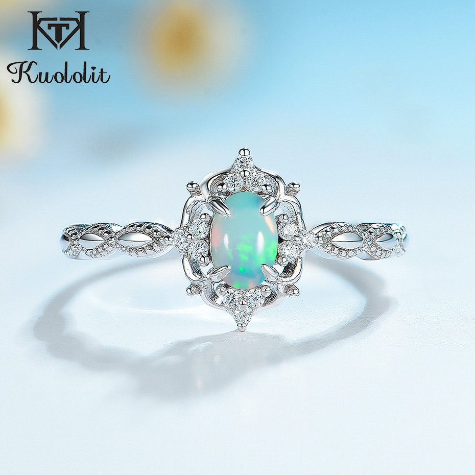 Kuololit Natural Opal Gemstone Rings for Women 925 Sterling Silver Fire Stone Size 10 Ring Wedding Engagement Gift Fine Jewelry