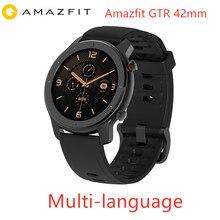 Versão global amazfit gtr 42mm relógio inteligente huami 5atm à prova d24 água smartwatch 24 dias bateria gps controle de música para android ios