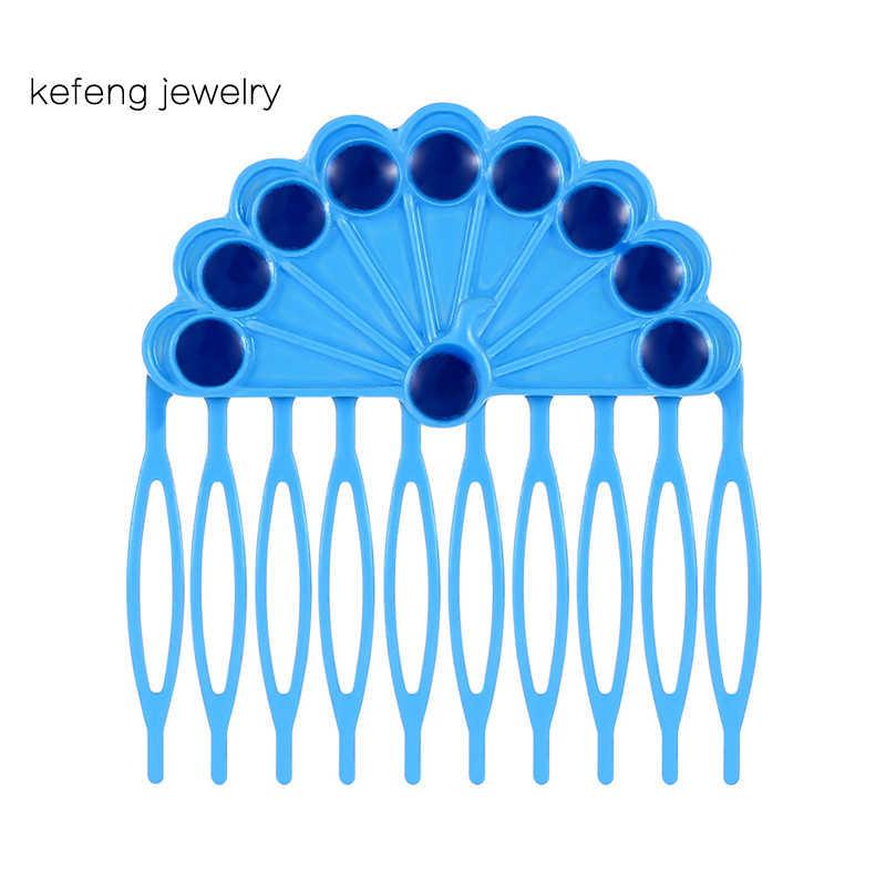 כחול טווס פרת משה רבנו שיער אביזרי עבור נשים אופנה סיכת שיער מסרק הלשם חרוזים תכשיטי Hairwear ילדה מתנה