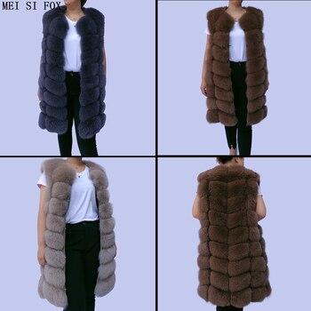 Natural fox fur vest ladies autumn winter jacket warm real 100% high quality female