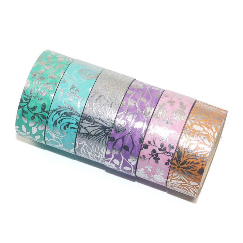 6Rolls/Set Floral Washi Tape Silver Foil Decorative Tape Scrapbooking Photo Album School Tools Kawaii Scrapbook Paper Gift Set
