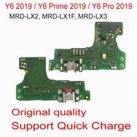 100% original porto de carregamento pcb placa usb carregamento doca conector com microfone cabo flexível para huawei y6 2019 y6 pro 2019