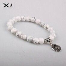 Natural Stone Beads Charm Bracelet with Sanskrit Alloy Bracelets Bangles Women Yoga Prayer Buddhist