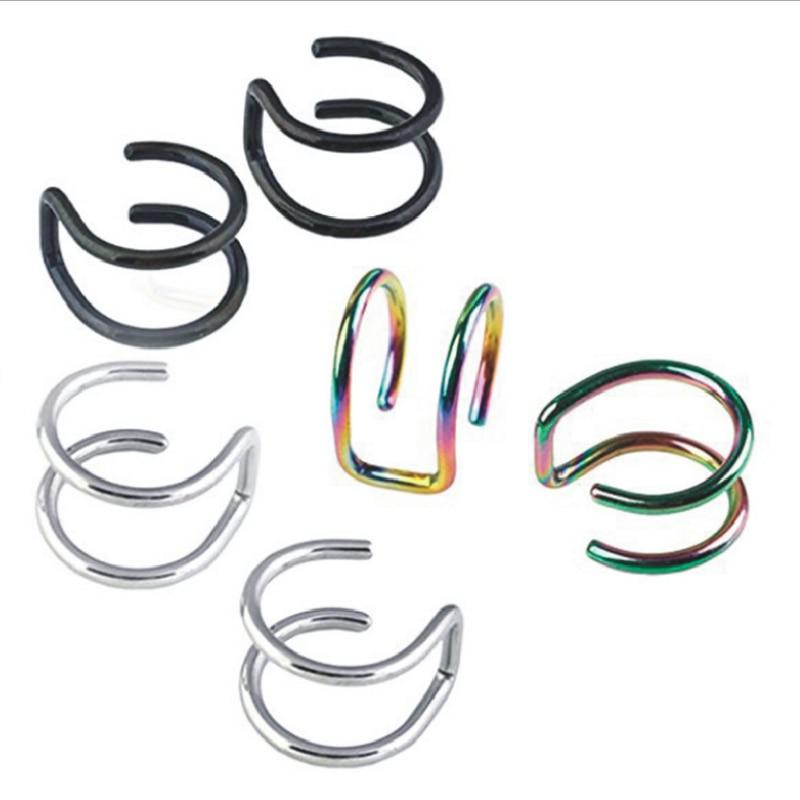 New Fashion 5 pcs 5 style Punk Rock Ear Clip Cuff Wrap Earrings No piercing-Clip Hollow Out U Pattern Statement jewelry Gift 1