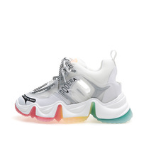 Chunky Shoes Platform-Sneakers Female Fashion Casual Soft Rainbow-Bottom Internal-Increase