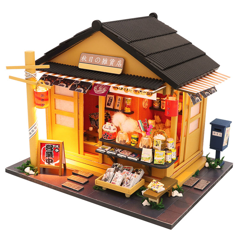 Miniature Japanese <font><b>Grocery</b></font> <font><b>Store</b></font> Dollhouse LED Kits DIY Wooden Shop Furniture Model Puzzle <font><b>Toy</b></font> Children Birthday Christmas Gift image
