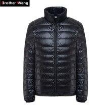 Brother Wang marka kış yeni MensDown ceket rahat beyaz ördek aşağı ışık aşağı erkekler sıcak tutan kaban erkek erkek giyim 2020