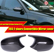 For BMW E93 2-Door Convertible Rear Mirror Cover Cap Add on Style M3 Look Carbon Fiber Gloss Black CF 1:1 Replacement 2-Pcs10-13