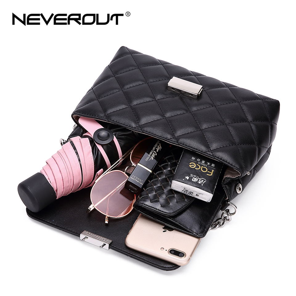 NEVEROUT Small Chain Elegant Women 39 s Bags PU Leather Ladies Handbag High Quality Classic Black Crossbody Bag Shoulder Sac a Main in Top Handle Bags from Luggage amp Bags