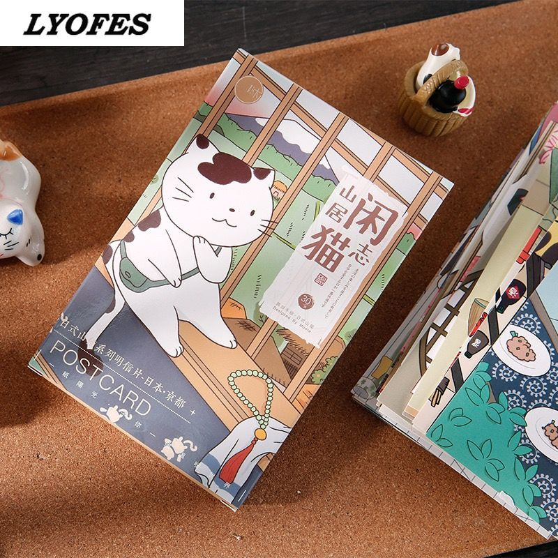 30 Sheets/Set Cute Cat  Animal Postcard Japanese Style Miyazaki Hayao Greeting Cards Birthday Gift Card Message Card