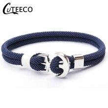 CUTEECO Anchor Bracelets Men Charm Survival Rope Chain 2019 New Fashion Bracelet Male Wrap Metal Sport Hooks Black Color
