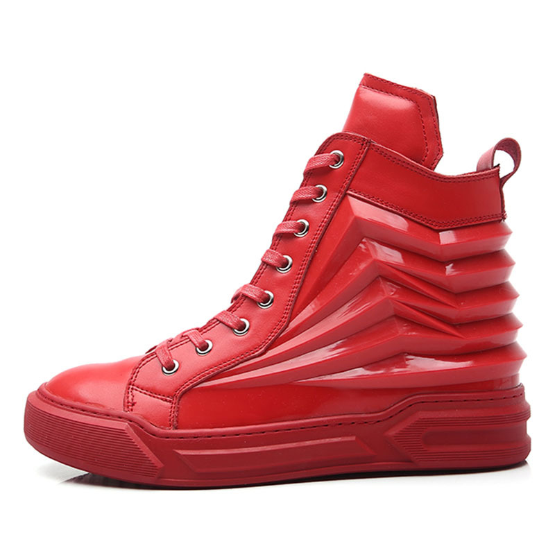 2020 New Men High Top Hip Hop Shoes Genuine Leather Trainer Sneakers Street Dancing Footwear Male Lace Up Skateboard Shoes Red