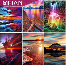 MEIAN Seaside Sunset  Diamond Painting Landscape 5D DIY Diamond Embroidery Full Drill Rond Picture Of Rhinestone  Decor Home
