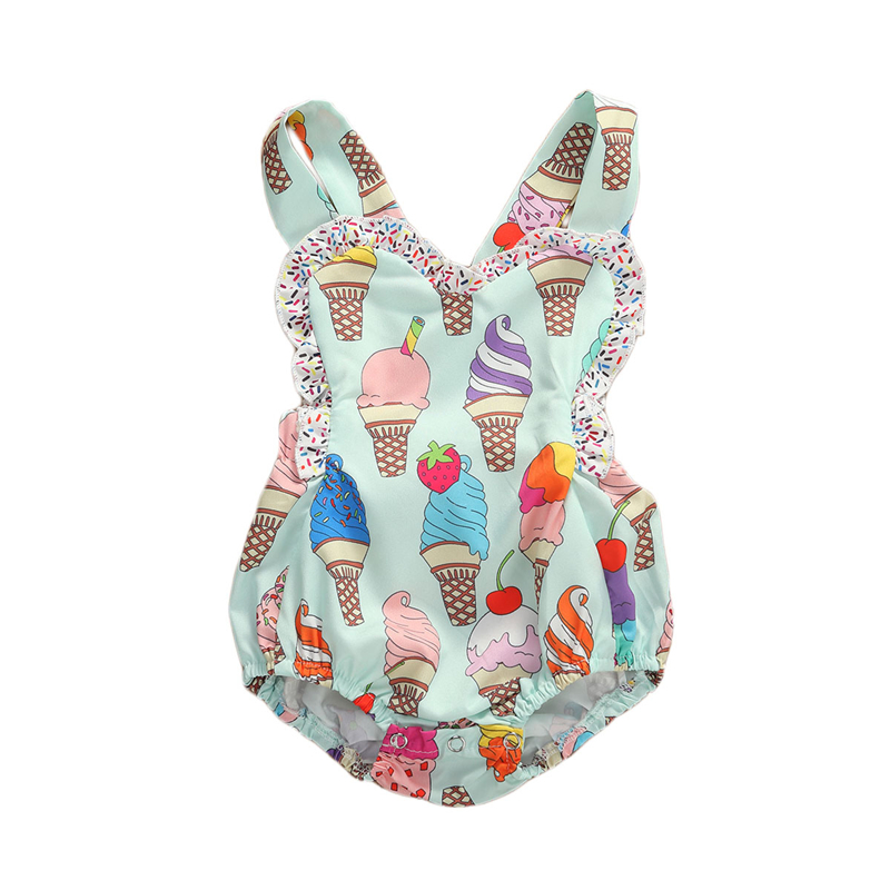0-18M Summer Cute Toddler Baby Girls Boys Rompers Ice Cream Print Ruffles Sleeveless Backless Jumpsuits