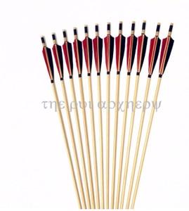 Image 4 - 6/12/24 pcs חדש אדום ולבן נוצת חץ עץ Longbow חיצוני ציד
