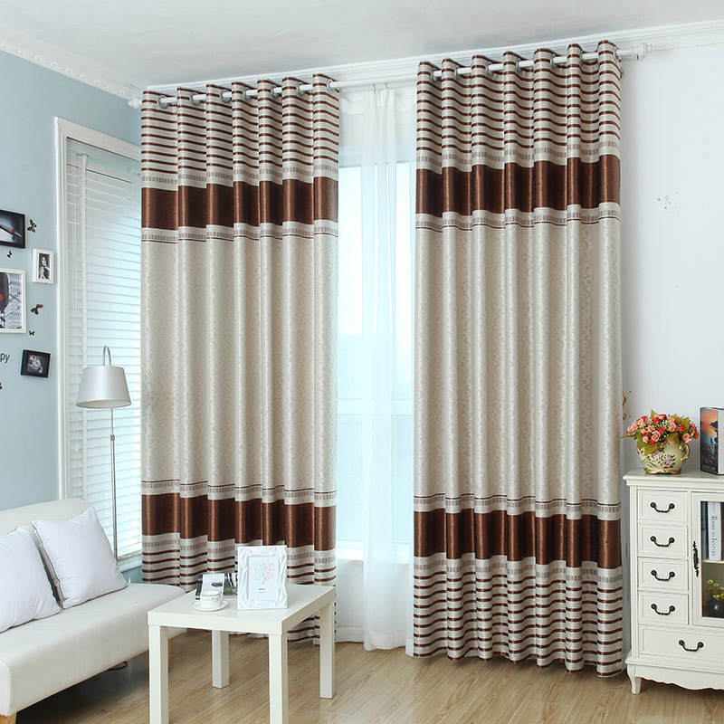 Modern Blackout Pink Curtains for Living Room Bedroom Embossed Stripe Brown Curtain Window Treatment Drapes