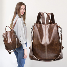 2020 Women Backpack Functional Soft Genuine Leather Backpack For Women Fashion Urban Girls Anti Theft Backpack
