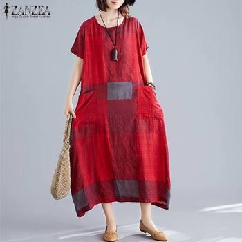 ZANZEA модные женские туфли в клетку летнее платье сарафан с короткими рукавами макси Vestidos женские повседневные платья размера плюс с круглым вырезом плед халат 3