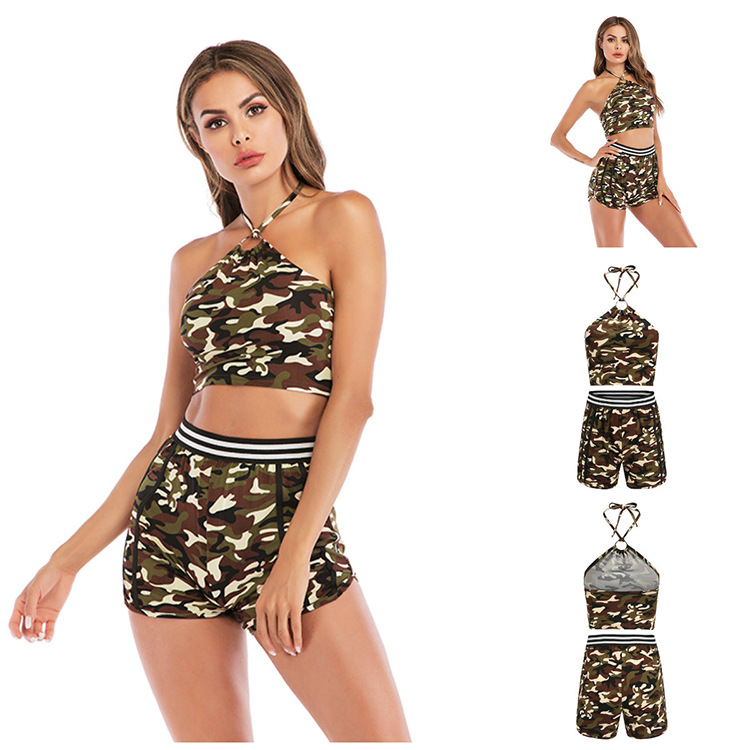2020 Summer Hot Selling Women's Europe And America Sports Fitness Backless Lace-up Vest Yoga Clothes Suit