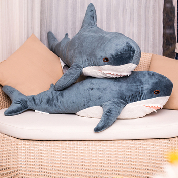 80/100/140CM Big Size Soft Toy Plush Shark Stuffed Toys Plush Toys Sleeping Cute Pillow Cushion Stuffed Animal Gift For Children hamtoys 60cm cotton cushion plush hippo stuffed toys boy girl hippopotami sleeping pillow large soft toy for children kids sa21