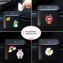 Auto Vuilnis Doos Flip Deksel Vuilnisbak 3D Cartoon Prullenbak In Auto Leuke Afval Organizer Box Container Auto Bin Bag