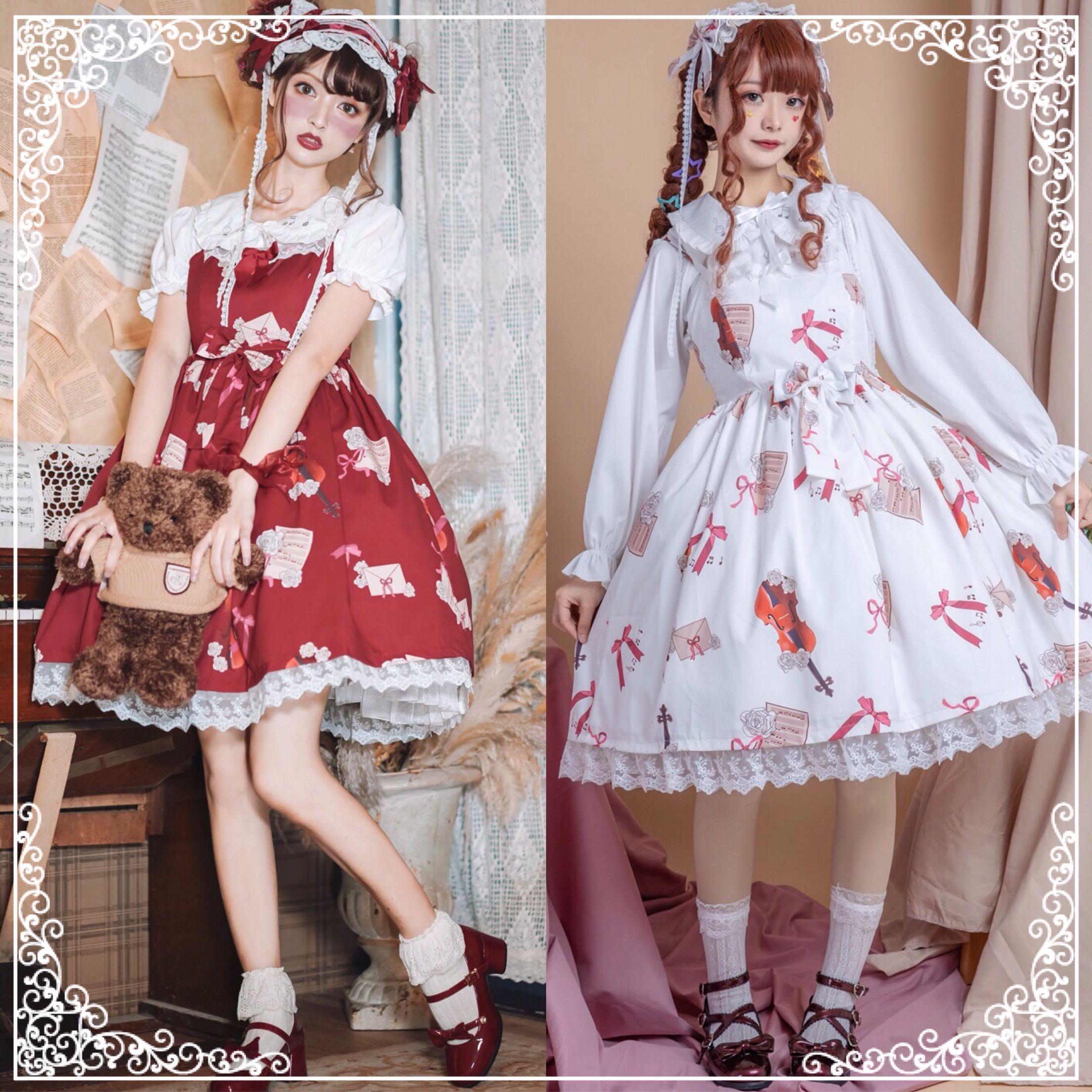 Japanese Sweet Lolita Dress Vintage Lace Bowknot Cute Printing High Waist Victorian Dress Kawaii Girl Gothic Lolita Jsk Loli Cos