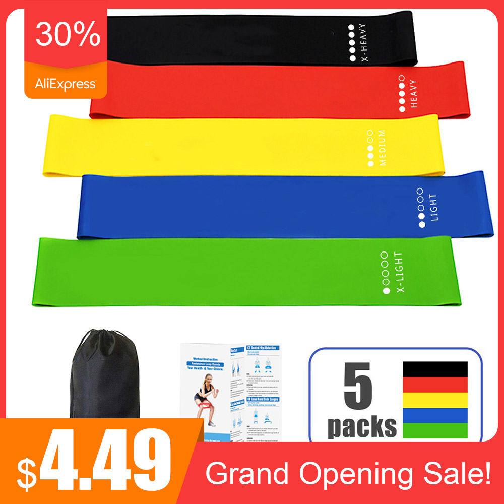 Mini 5 Colors Yoga Resistance Bands Set Fitness Bands Expander Tube Gymnastics Bands Yoga Training Band Workout Equipment Indoor