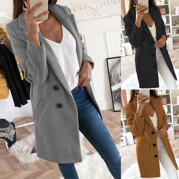 Casual Women Autumn Winter Solid Color Lapel Open Front Jacket Long Warm Coat