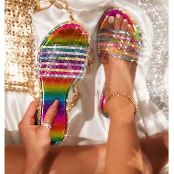 Summer new outdoor female beach slippers High-quality handmade fashion sexy Roman rhinestones plus size flat womens