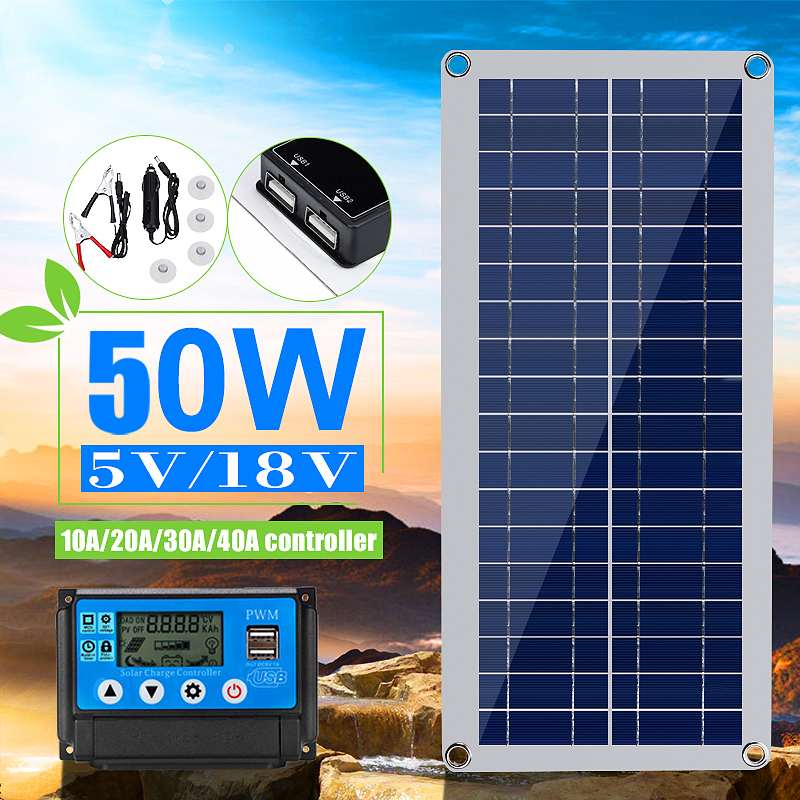 KINCO 50W Solar Panel 5V/18V Dual USB With Car Charger + 10/20/30/40A USB Solar Charger Controller For Outdoor Camping LED Light