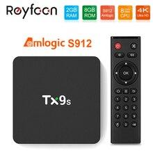 TX9S decodificador de señal caja de Smart TV de Android, Amlogic S912, 2GB, 8GB, 4k, 7 60fps, wi fi 2,4 GHz, 1000M, compatible con Youtube, Google Fast TVBOX, TX9S