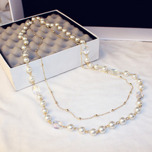 CX-Shirling Long Simulated Pearl Necklace For Women Crystal Pearl Pendant Long Necklace Party Necklace Female Sweater Necklace cx shirling 4 colors crystal daisy female