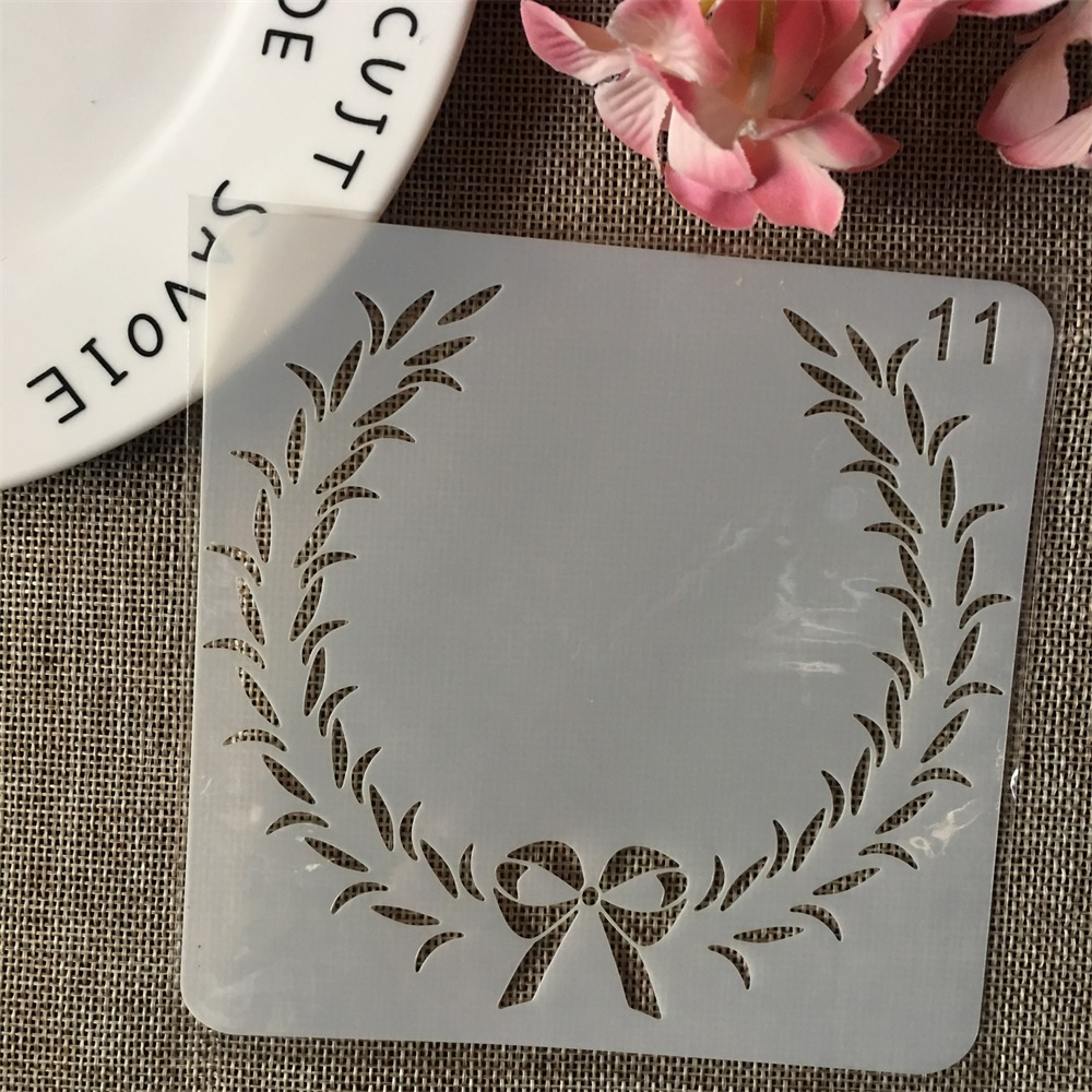 13cm Bowknot Leaves DIY Layering Stencils Wall Painting Scrapbook Coloring Embossing Album Decorative Card Template