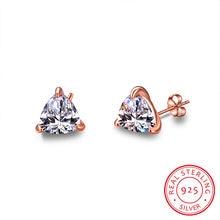 Niedliche Weibliche Kleine Dreieck Stud Ohrringe Kristall Labor Diamant Saphir Ohrringe 925 Sterling Silber Rose Gold Ohrringe Für Frauen