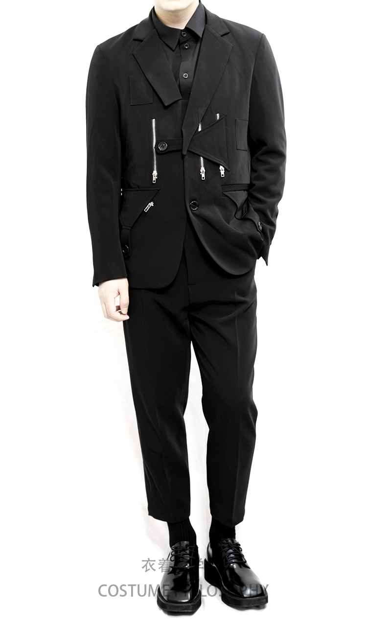 Men's Suit Suit Fashionable Style Dark Black Department Retro Iron Chain Shaped Barge Suit.