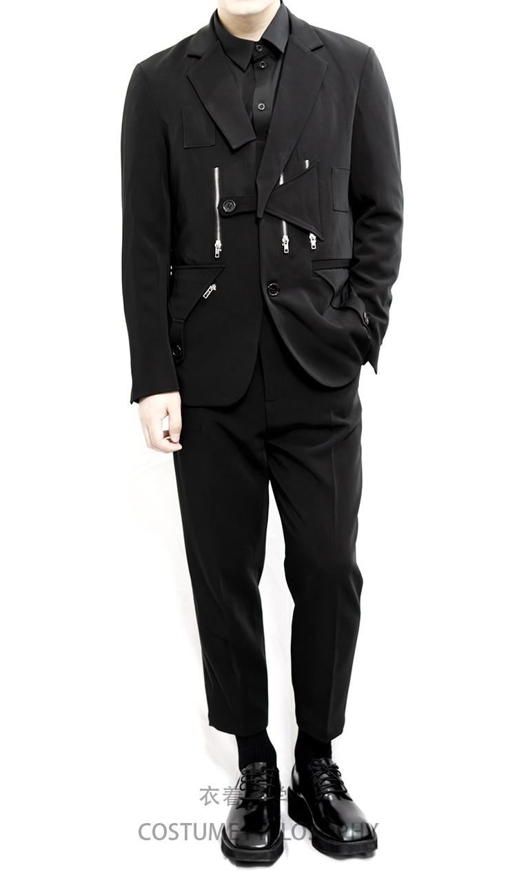 Men's Suit Suit Fashionable Style Dark Black Department Retro Iron Chain Shaped Barge Suit.