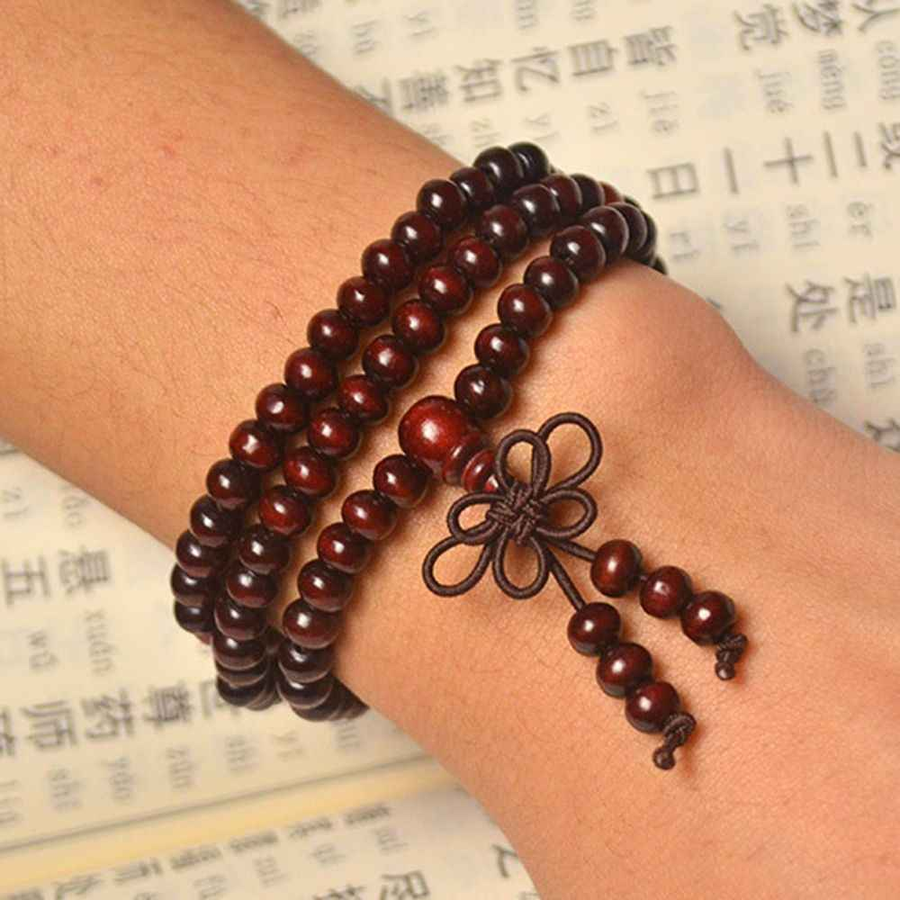 108 Beads 6mm Natural Sandalwood Buddhist Buddha Wood Prayer Bead Mala Unisex Men Bracelets & Bangles Jewelry