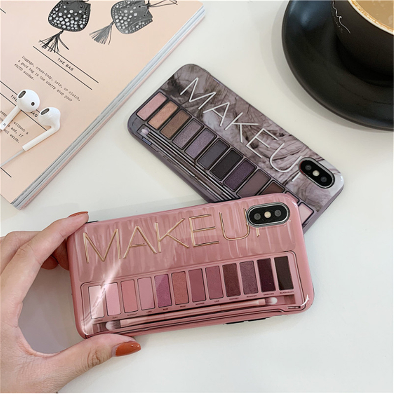 Makeup Eye Shadow Palette Mobile Phone Shell Soft Silicone Sleeve. Is Suitable for Iphone6s XS Max XR XS 67 8plus Smooth Support