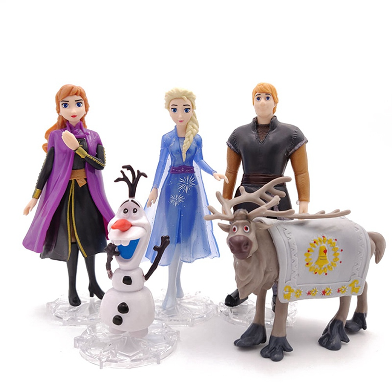 5pcs/Lot 9-14cm Snow Queen Anna  Elsa 2 Olaf Sven Kristoff Princess Toys Pvc Action Figure Doll For Kids Gift