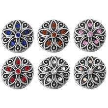 10 unids/lote nuevo broche de joyería intercambiable de 12mm accesorio broche de flores con estrás ajuste 12mm botón Snaps pulsera collar ZL080