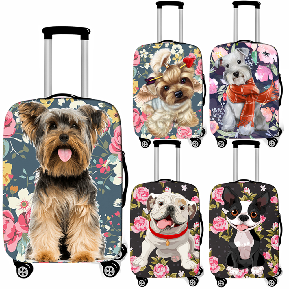 Cute Dog Yorkshire Terrier / French Bulldog Luggage Cover Women Suitcase Protective Covers Anti-dust Travel Trolley Case Cover