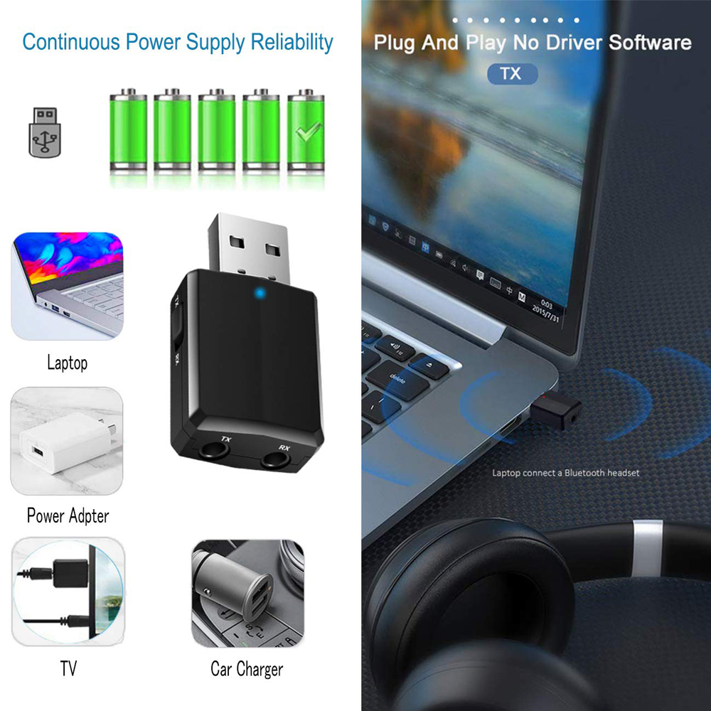 USB Bluetooth 5.0 Transmitter Receiver 3 in 1 EDR Adapter Dongle 3.5mm AUX for TV PC Headphones Home Stereo Car HIFI Audio 4