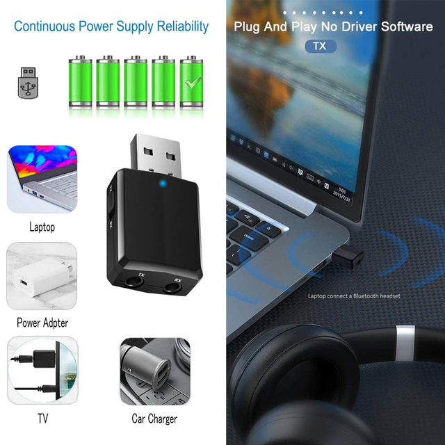 USB Bluetooth 5.0 Transmitter Receiver 3 in 1 EDR Adapter Dongle 3.5mm AUX for TV PC Headphones Home Stereo Car HIFI Audio 3
