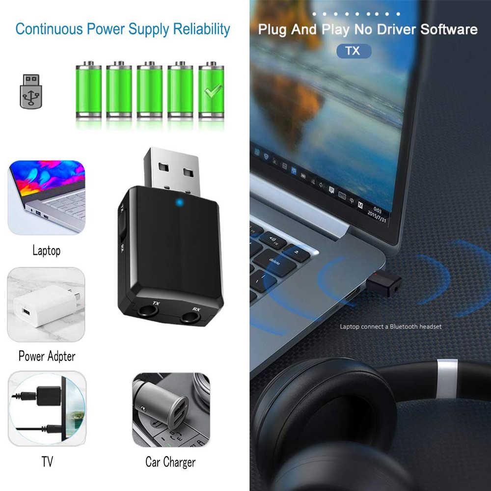 Usb Bluetooth 5.0 Zender Ontvanger 3 In 1 Edr Adapter Dongle 3.5 Mm Aux Voor Tv Pc Hoofdtelefoon Home Stereo auto Hifi Audio