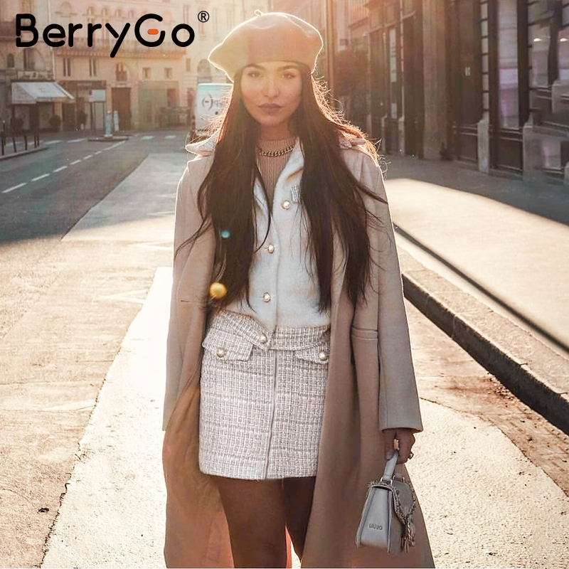 BerryGo Buttons Winter Dress Suit Set Women Tweed Faux Fu Skirt Suit Sets Patchwork Single Breasted Office Ladies Suits Female