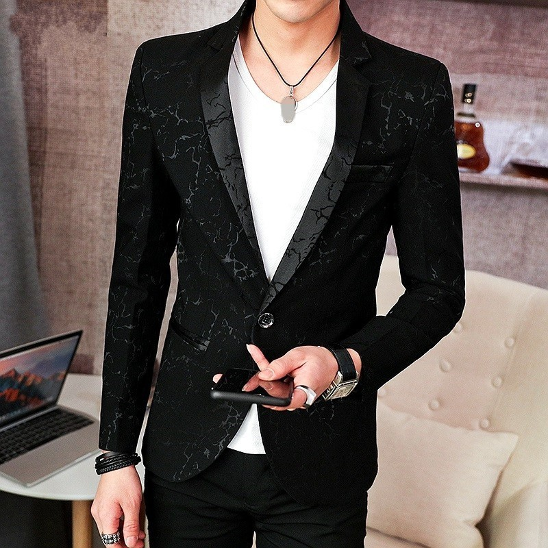 Men Fashion Single Button Blazer Brand Long Sleeve Casual Thin Suit Jacket 2020 New Embroidery Formal Coat Male Black M-3XL