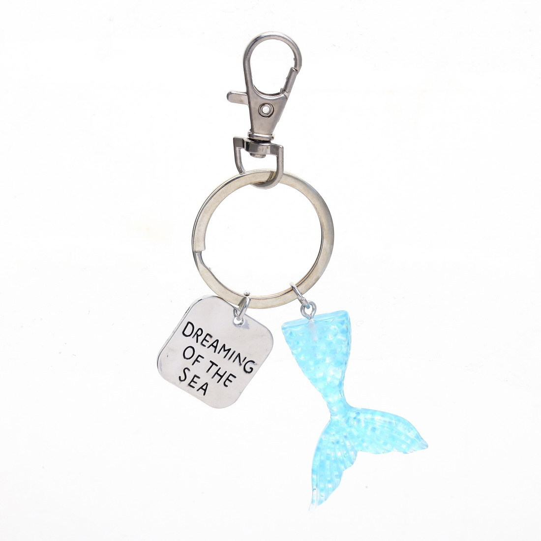 Dream Ocean Keyring Dreaming Of The Sea Letter Square Tag Gradient Mermaid Fish Tail Charm Keychain Creative Couple Jewelry Gift