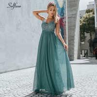 Nouvelle mode bleu une ligne col en V dos nu femmes robes élégantes Appliques dentelle longue été Robe Maxi pour Robe De soirée