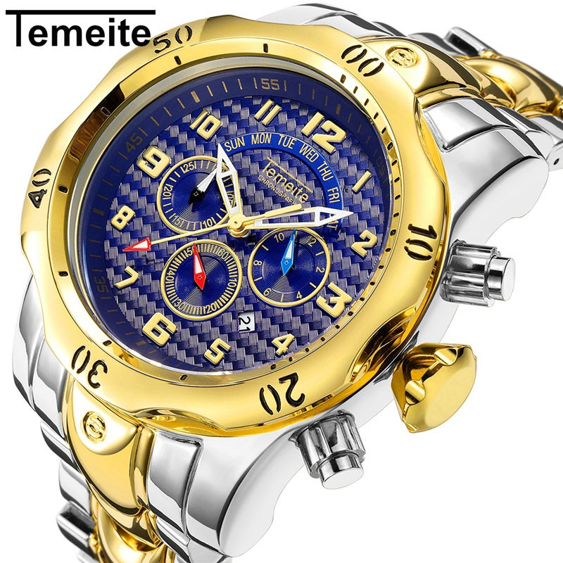 Temeite Sport Mens Watch 6 Pointer Fashion Stainless Steel Gold Watch Men Clock Waterproof Men Watches 2018 Luxury Brand Relogio