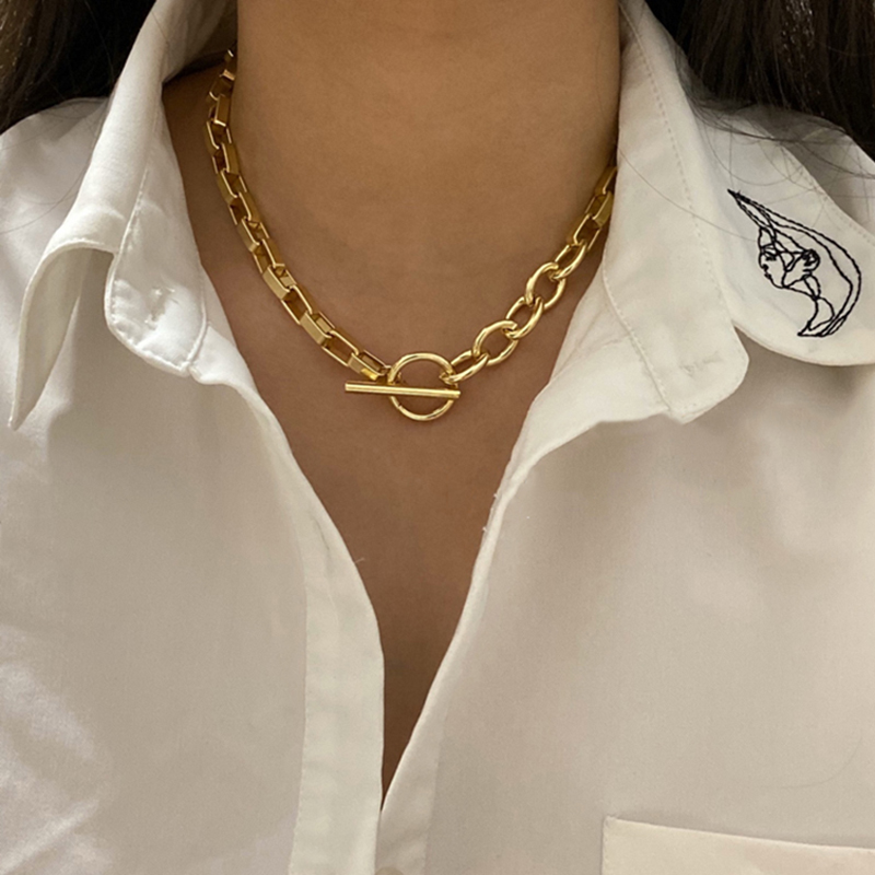 Peri'sBox Box Chain Toggle Clasp Gold Necklaces Mixed Linked Circle Necklaces for Women Minimalist Choker Necklace Hot Jewelry